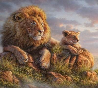 Фотошторы «Величественные львы»