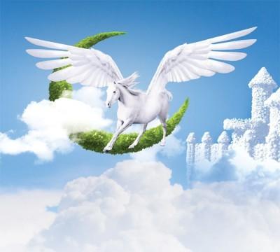 Фотошторы «Пегас над облаками»