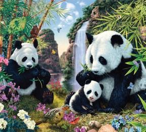 Фотошторы «Семейство панд»