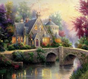 Фотошторы «Томас Кинкейд. Сказочный домик»