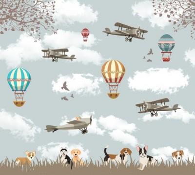 Фотошторы «Воздушные шары с собачками»