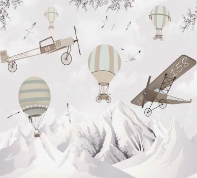 Фотошторы «Полеты над заснеженными горами»