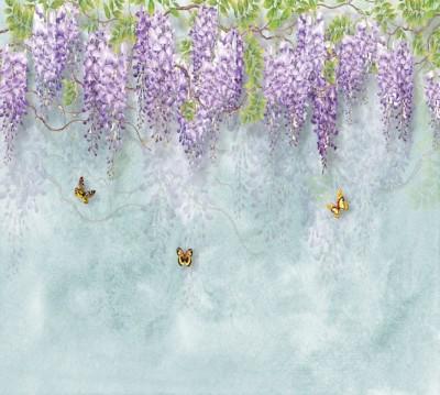Фотошторы «Сирень с бабочками»