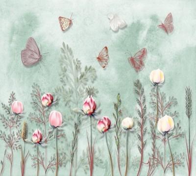 Фотошторы «Бабочки в саду»