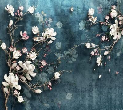 Фотошторы «Птицы в цветущем кустарнике»