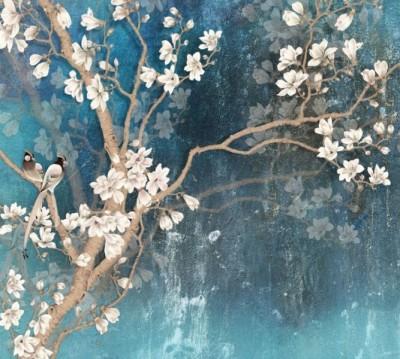 Фотошторы «Птицы в цветущей магнолии»