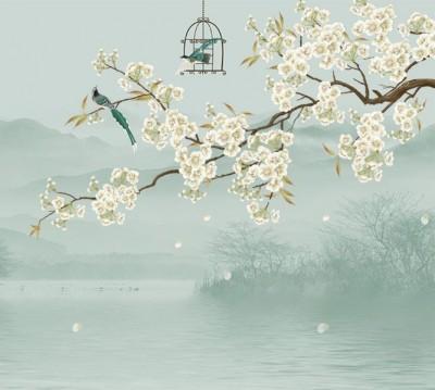 Фотошторы «Лодка под цветущими ветвями»