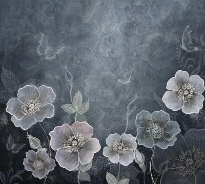Фотошторы «Волшебный сад в холодных тонах»