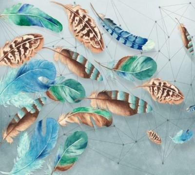 Фотошторы «Перья в паутине из полигонов»