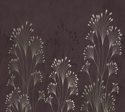 Фотошторы «Цветущие травы на тисненом фоне»