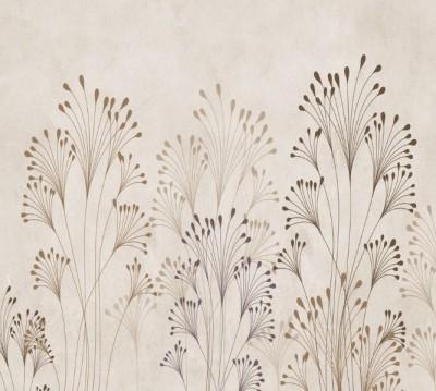 Фотошторы «Цветущие травы на жемчужном фоне»