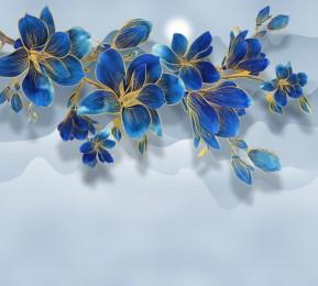 Фотошторы «Роскошная ветвь цвета индиго»