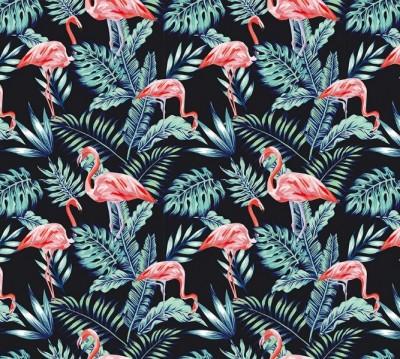 Фотошторы «Тропическая ночь.Фламинго»