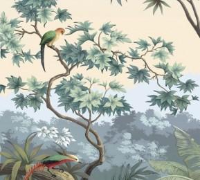 Фотошторы «Пейзаж с экзотическими птицами»