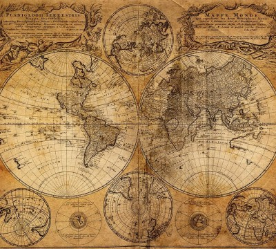 Фотошторы «Старая карта мира»