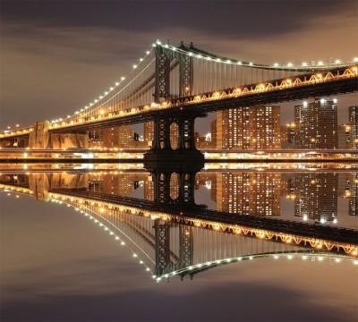 Фотошторы «Бруклинский мост: отражение в реке Гудзон» 3D Фотошторы