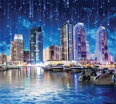 Фотошторы «Звездопад над ночным городом» 3D Фотошторы