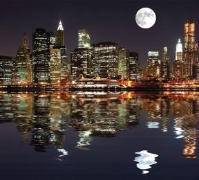 Фотошторы «Луна над ночным городом»