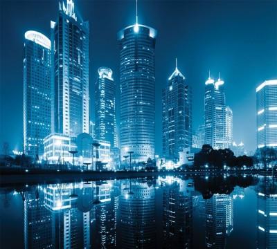 Фотошторы «Неоновые огни ночного города»