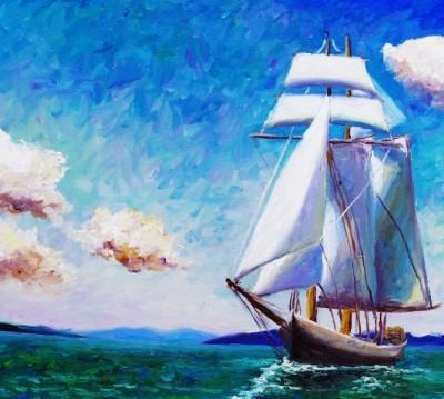 Фотошторы «Корабль маслом»