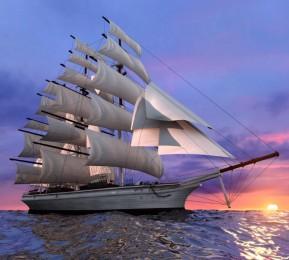 Фотошторы «Парусный корабль на закате»