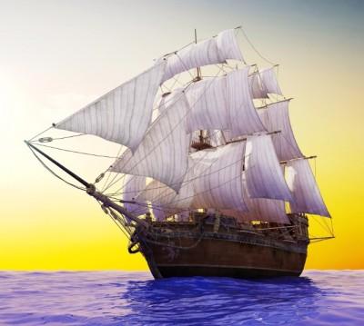 Фотошторы «Старый корабль в открытом океане»