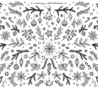 Фотошторы «Стильная новогодняя композиция в чёрно-белых тонах»