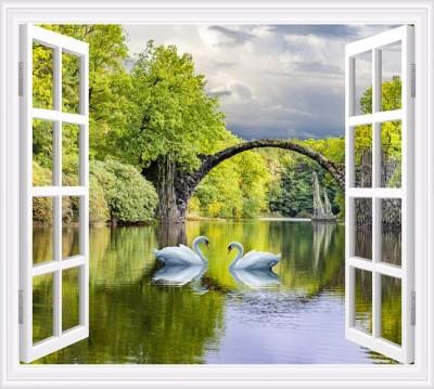 Фотошторы «Вид на озеро с лебедями»