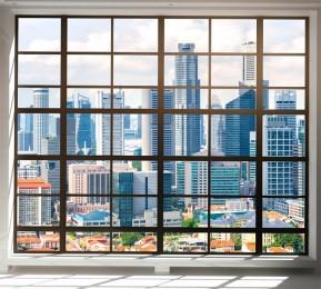 Фотошторы «Окна с панорамным видом на город»