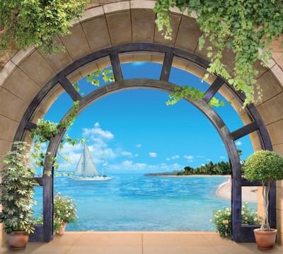 Фотошторы «Окно с видом на море» 3D Фотошторы