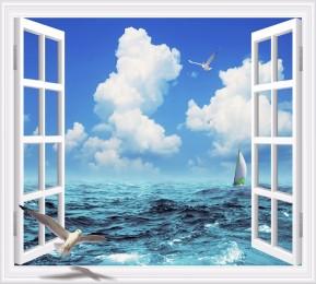Фотошторы «Распахнутое в море окно»