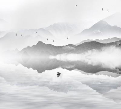Фотошторы «Одинокая лодка в тумане»