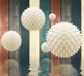 Фотошторы «Колючие шары на древесном фоне»