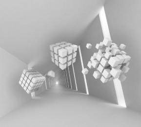 Фотошторы «Кубы летящие по тоннелю»