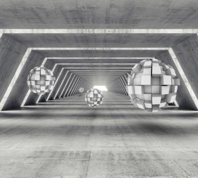 Фотошторы «Футуристичный ангар с парящими сферами»