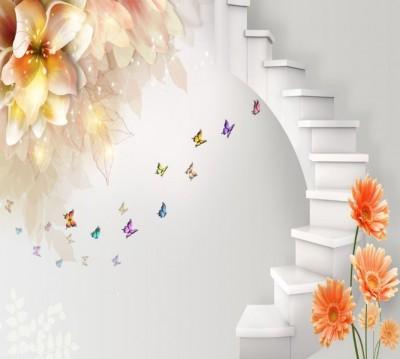 Фотошторы «Фантазийная лестница с цветами»