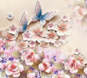 Фотошторы «Цветочное изобилие с бабочками»