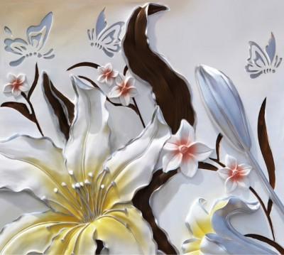 Фотошторы «Объемные цветы с бабочками»
