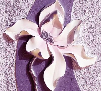 Фотошторы «Фиолетовые магнолии на рельефном фоне»