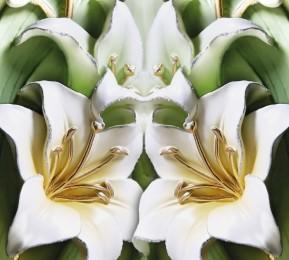 Фотошторы «Зеленые лилии из керамики»