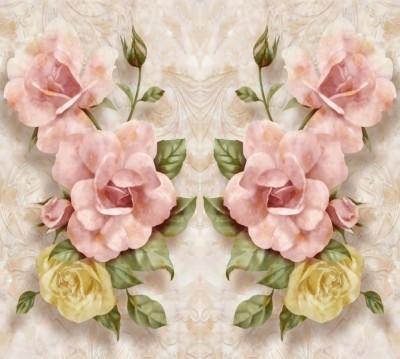 Фотошторы «Объемные розы под мрамор»