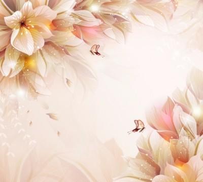 Фотошторы «Волшебные цветы с бабочками»