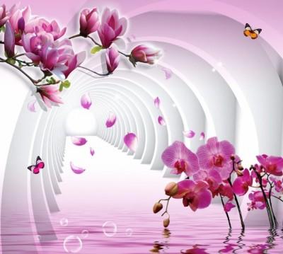 Фотошторы «Объемные колонны с цветами»