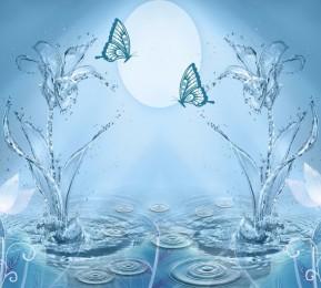 Фотошторы «Объемные цветы из брызг с бабочками»