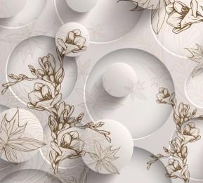 Фотошторы «Объемные круги с цветочным узором»
