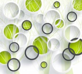 Фотошторы «Объемные зеленые круги»