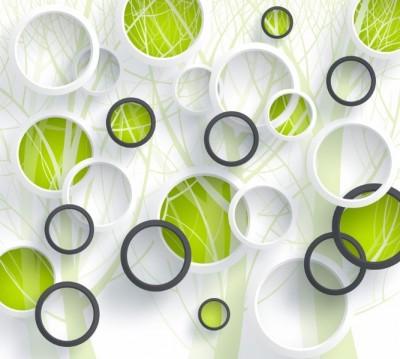 Фотошторы «Объемные зеленые круги» 3D Фотошторы
