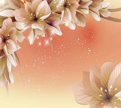 Фотошторы «Персиковая инсталляция с цветами»