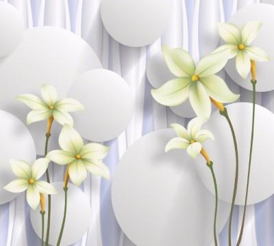 Фотошторы «Нежно-салатовые цветы на объемном фоне»
