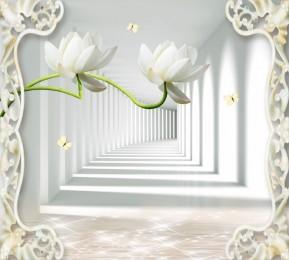 Фотошторы «Тоннель с лотосами»